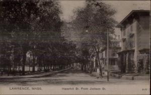 Lawrence MA Haverhil St. From Jackson c1905 Postcard