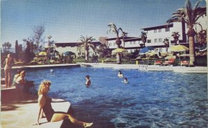 1940's-50's Olympic Swimming Pool, Flamingo Hotel, Las Vegas Nevada Postcard F71