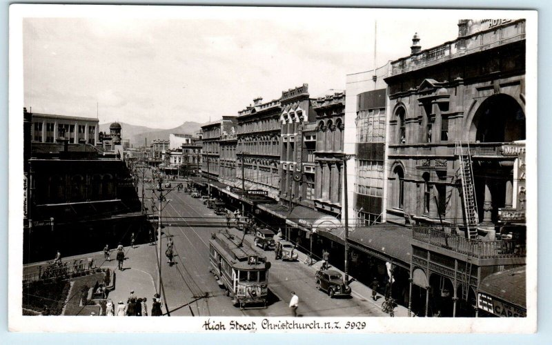 RPPC CHRISTCHURCH, NZ New Zealand   MAIN STREET ~ STREETCAR  c1940s Postcard