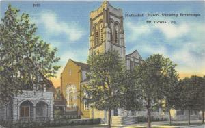 Mt Carmel Pennsylvania~Methodist Church Showing Parsonage~Square Tower~1940s PC