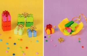 Birthday Presents Wrapping Paper Childrens Toy Lego Model Display Postcard