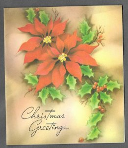 VINTAGE 1940s WWII ERA Christmas Greeting Holiday Card POINSETTIAS & HOLLY