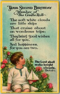 Vintage YOUR SECOND BIRTHDAY Greetings Postcard Member of the Cradle Roll 1930