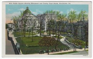 Norristown, Pennsylvania,  View of Public Square, Monument & Court House, 1945