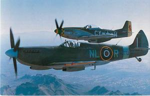 British Submarine Spitfire and a North American P-51 Mustang