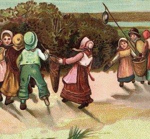 1880's Victorian Card Children Picking Fruit Berries Lake Beach Scene 7E