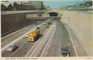 Double Decker Bus, New Mersey Tunnel Entrance, Liverpool, Lancashire, England...