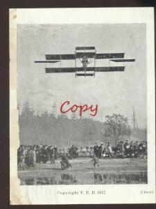 1910 PACIFIC COAST BIPLANE AIRPLANE AVIATION CHARLES HAMILTON ELYRIA OHIO BAKER