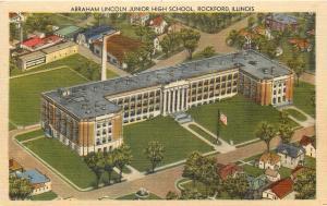 Rockford Illinois~Abraham Lincoln Junior High School Aerial View~1940 Linen PC