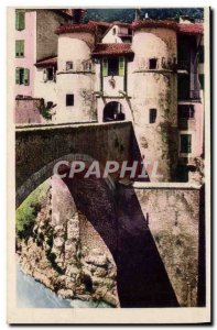 Old Postcard Entrevaux The Bridge On The Var And I & # 39Entree Main