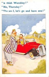 Comic Is thish Wembley? No, Thursday! -Sho am I... Elegant Men Car, Elks 1953