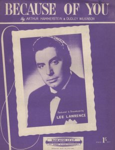 Because Of You Lee Lawrence 1950s Sheet Music