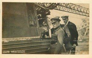 1920s Airship Zeppelin Wreckage German Military Officer RPPC Photo Postcard