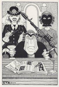 Policewoman Crossword Court Room Comic Political Postcard