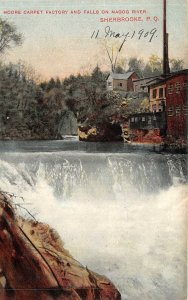 br105677 moore carpet factory and falls on magog river sherbrooke  canada
