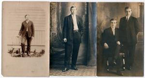 3 - RPPC Cards with Men Standing