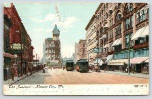Kansas City Missouri~The Junction~Trolley Race on Main St~Drug Store~1907 IPCC