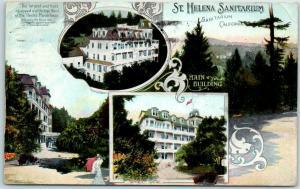 Napa County, California Postcard ST. HELENA SANITARIUM Multi-View w/ 1915 Cancel