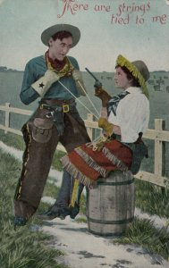 Cowboy & Cowgirl Couple , Here are strings tied to me , 1909