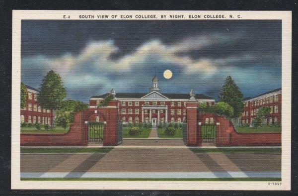North Carolina colour pc South Night View Elon College, N.C unused