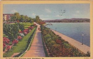 Pennsylvania Harrisburg View Along Riverfront Park 1945