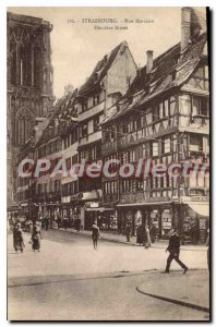 Postcard Old Street Strasbourg Merciere