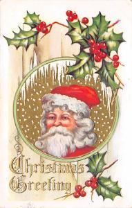 Santa Claus Post Card Old Vintage Antique Christmas Postcard Brown Suit 1910