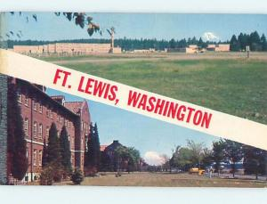 Pre-1980 TWO VIEWS ON CARD Fort Lewis - Lakewood & Parkland & Tacoma WA ho7625