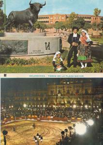 Salamanca Bullfight Stadium Monument Statue To The Fighting Bull 2x Postcard s
