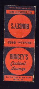 Brockton, Massachusetts/Mass/MA Match Cover, Buncey's Cocktail Lounge, R...