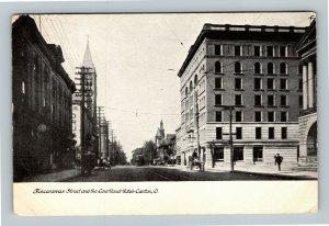 Canton OH, Tuscarawas Street, Courtland Hotel, Vintage Ohio Postcard