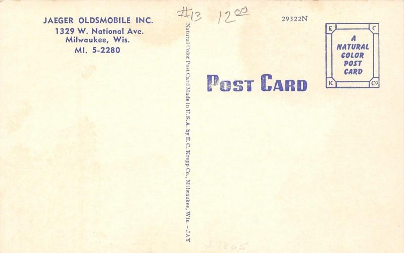 Milwaukee~Art Deco Bldg~Sign~Jaeger Oldsmobile Car Dealership~Late 1940s Linen
