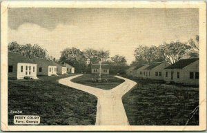 Perry, Georgia Postcard PERRY COURT Motel Highway 41 Roadside c1950s Unused