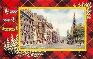 Edinburgh Scotland~Princes Street~Tram Car~Wallace Plaid~Shield~1940s Postcard