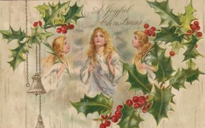 CHRISTMAS , 1900-10s ; 3 woman & holly