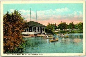 Pueblo, Colorado Postcard Lake Clara, MINERAL PALACE PARK Boating 1929 Cancel