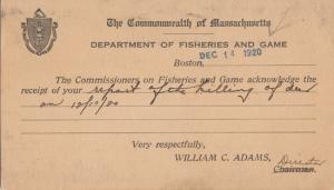 BOSTON, MA - DEPARTMENT OF FISHERIES AND GAME receipt postcard, dated 1920