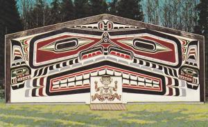 Aboriginal art monumental wood sculpture, Long House of the Coastal Indians, ...