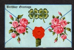 Vintage Birthday Greetings Postcard Four 4 Leaf Clover Roses Embossed PC