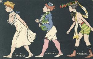 artist signed FERNEL, Lingerie Corsagiere Modiste (1903) Art Nouveau