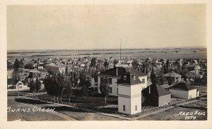 Burns Oregon~Birdseye Neighborhood Houses~Businesses~Level Ground~c1915 RPPC