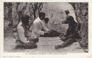 AUSTRALIA , 1890s ; Aborigines ; Quiet game of Euchre (Playing Cards)