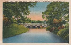 Stone Bridge over Tioughnioga River on Route 11 Homer NY New York pm 1945 Linen