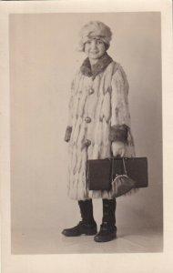 RP: Girl wearing Long Furcoat w/matching hat, 1910-20s