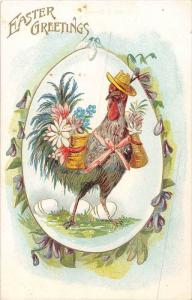 Rooster Carrying 2 Baskets of Flowers