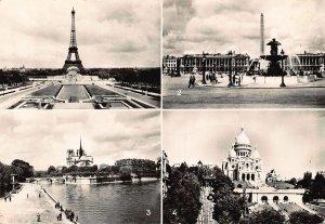France Paris La Tour Eiffel Notre Dame le Sacre Coeur Basilica Tower Postcard