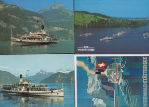 Vier Waldstattersee DS Unterwalden 4x German Cruise Ship Liner Postcard s