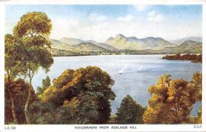 Windermere from Adelaide Hill, boats bateaux, mountains landscape