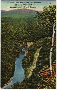 1952 Lookout Harrison State Park PA Train RR Pennsylvania's Grand Canyon Linen