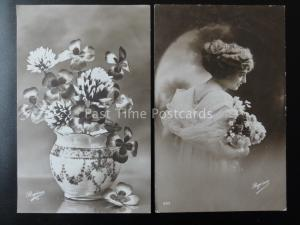 Romance LADY WITH FLOWERS Collection of 2 Old RP French Postcards Regina